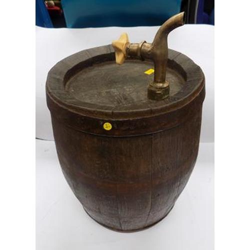 46 - Vintage oak barrel with brass tap...