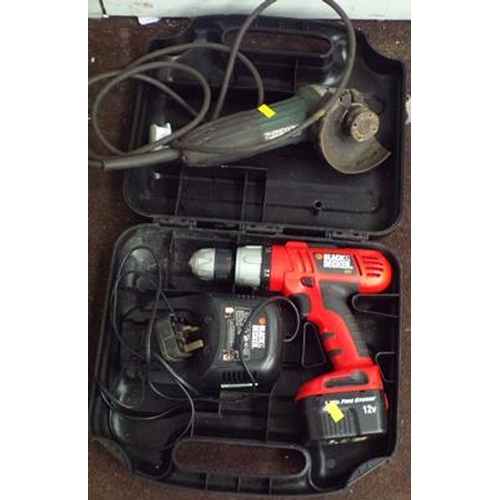 485 - Black & Decker cordless drill & charger in case & Makita angle grinder...