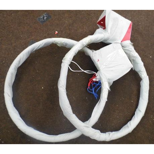 492 - Two basket ball rings - one with net...