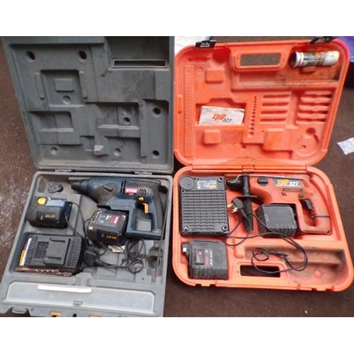 493 - 2x Ryobi and spit drill in boxes - sold as seen...