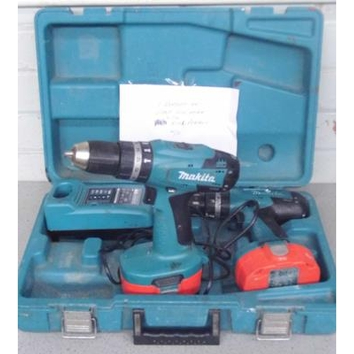 499a - Two Makita cordless drills, with charger - one battery OK, one weak...