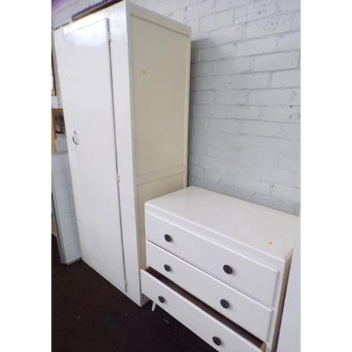 501 - Tall painted cupboard & set of three drawers...