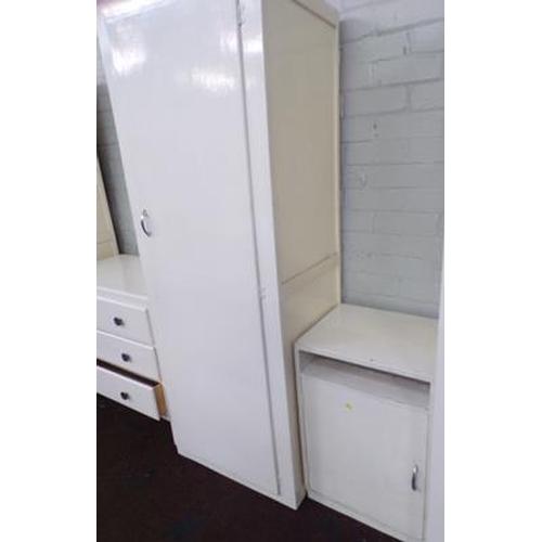 502 - Tall painted cupboard & bedside cupboard...