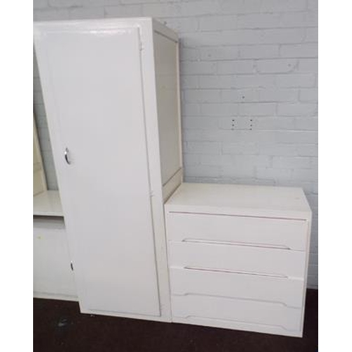 504 - Tall painted cupboard & four drawer chest of drawers...