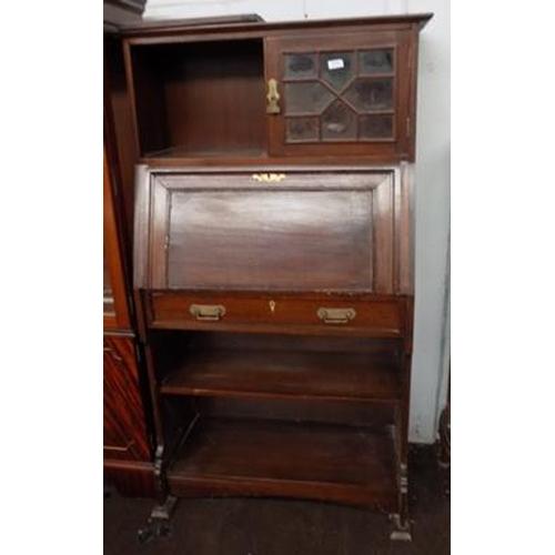 505 - Writing bureau with top cupboard (door requires fixing)...
