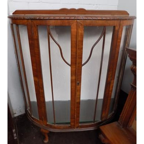 506 - Art Deco bow front display cabinet (no key)...