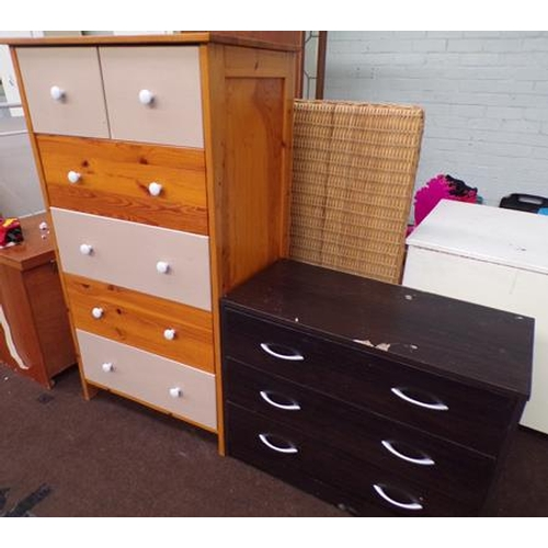 512 - 2 Over 4 pine drawers + 3 drawer chest...