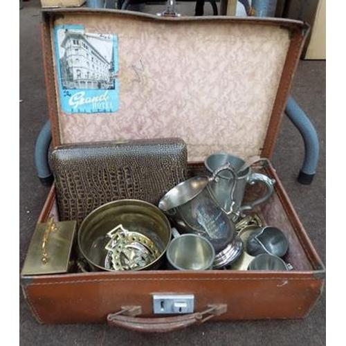 52 - Vintage suitcase containing brass, EPNS etc......