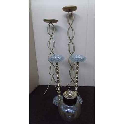520 - 2 free standing vintage ashtrays with 2 candlesticks and vintage light fitting...