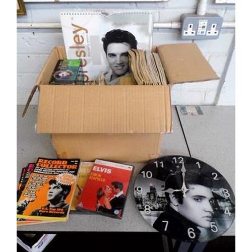 6 - Mixed box of music memorabilia inc Elvis clock, plates, calenders etc...