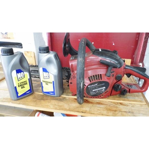 485 - Einhell petrol chainsaw with oil...