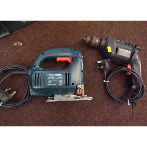 484a - Black & Decker jigsaw & hammer drill with chuck key w/o...