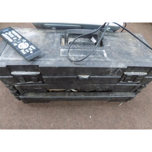 499 - Plastic black tool box...
