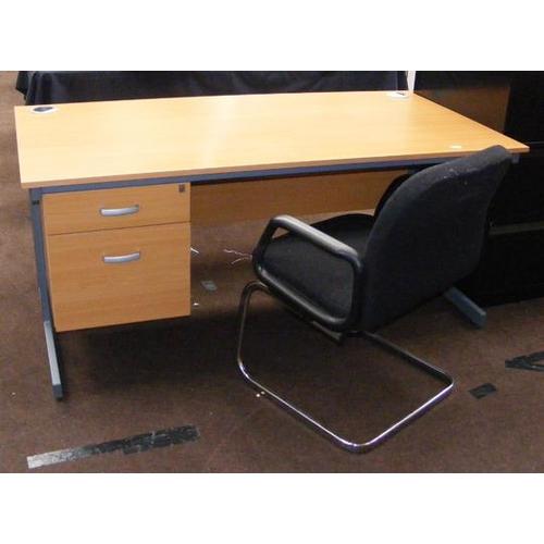 511a - Beech coloured office desk & chair...