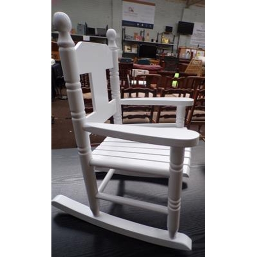 514a - Child's white wooden rocking chair...