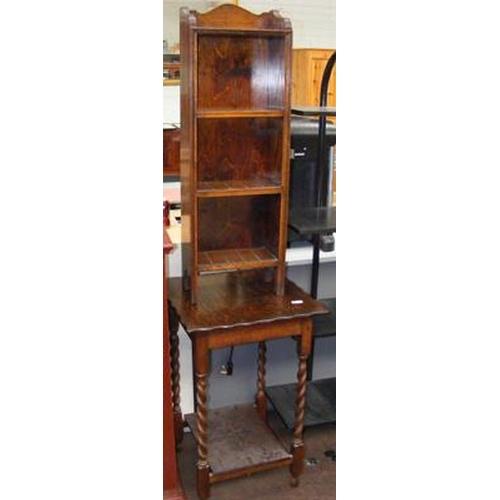 518a - Vintage oak table & small shelving unit...
