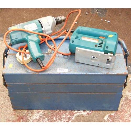 488a - Metal tool box, Black & Decker drill & jigsaw...