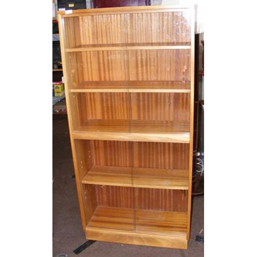 525 - Double glass fronted retro bookcase...