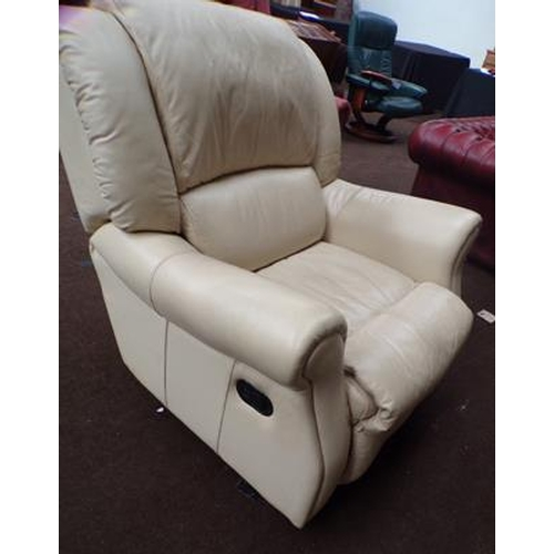 527 - Cream leather recliner...