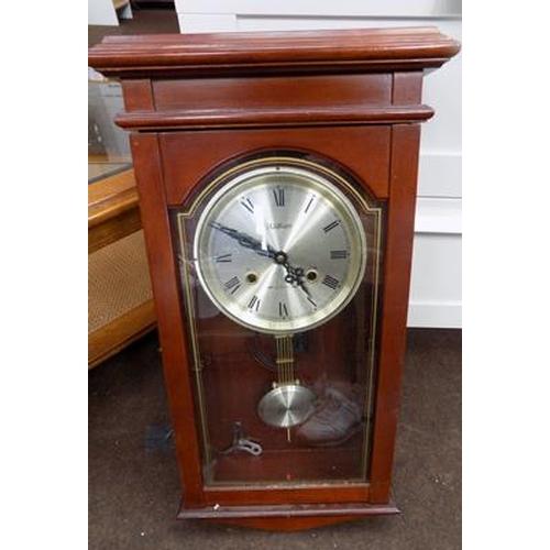 502 - Waltham 31 day chime wall clock with key & pendulum...