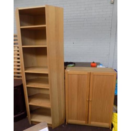 511 - Oak coloured cupboard and corner unit...