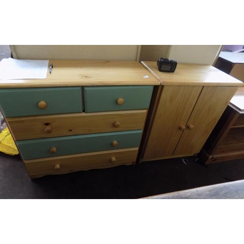 512 - Pine chest of drawers and pine cupboard...