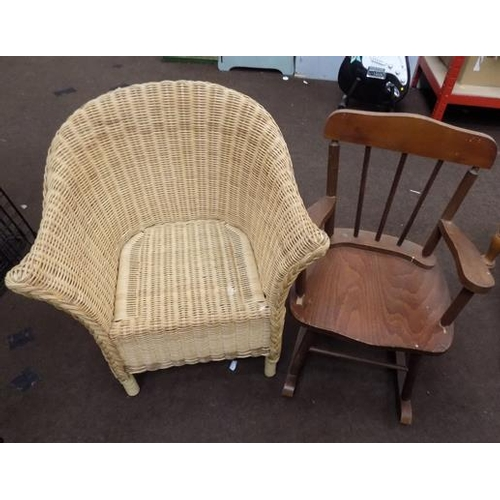 514a - Children's small rocking chair + wicker chair...