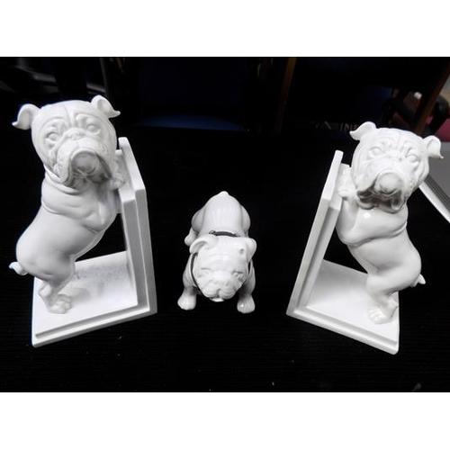 13 - British Bulldog bookends & ornament...