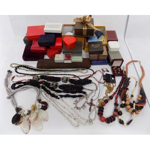 43 - Selection of modern and vintage jewellery and magnetic earrings incl. empty jewellery boxes...