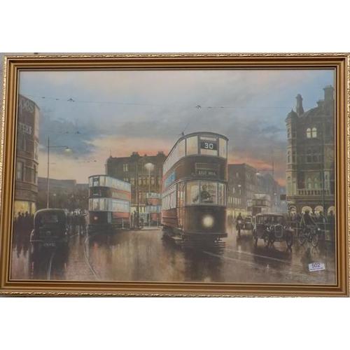 502 - Framed print of trams...