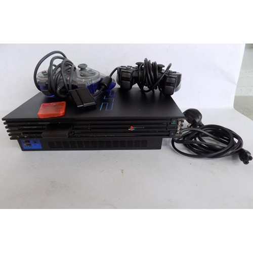 52 - PlayStation 2 with leads, 2 controllers and 2 memory cards...