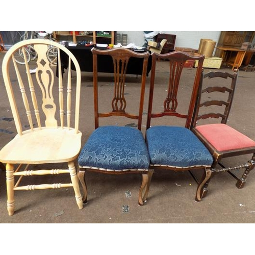 535 - Solid pine chair and 3 others...
