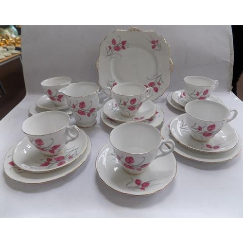 10a - Royal Stafford 'Beech' pattern ceramics with 5 trios...