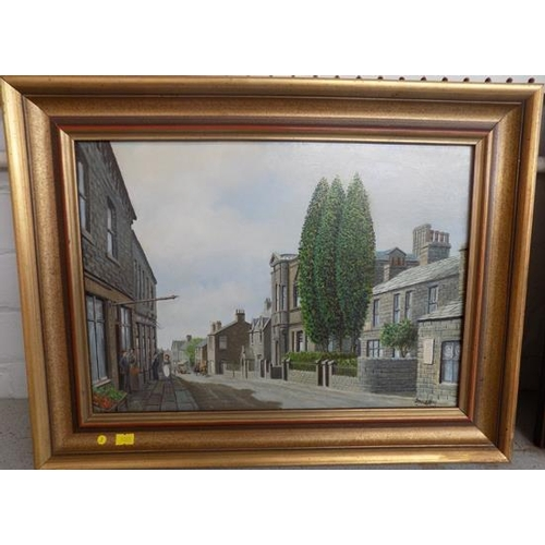 16 - Framed oil painting of Horsforth by David Hey - approx. 18