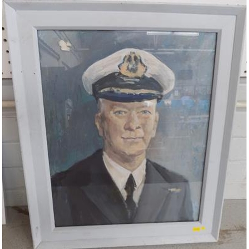 18 - Acrylic painting on board-Naval Officer (painted frame) possibly 1950's...