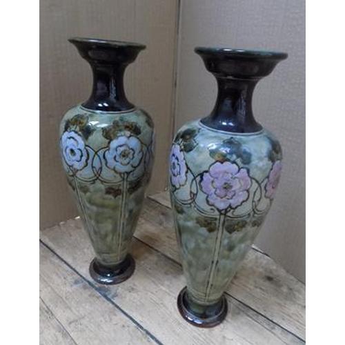 23 - Pair of Royal Doulton urban ware vases 1901-1936 - stamped 314K...