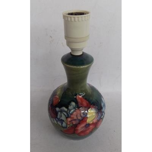 29 - Moorcroft pottery lamp base, stamped to base - 6 inches (no damage)...