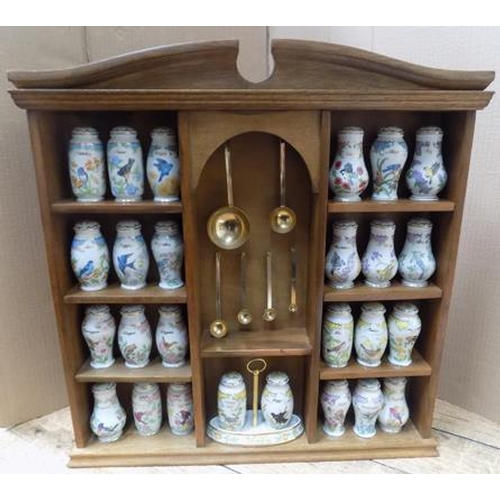 40 - Wooden wall hanging spice rack with Lenox ceramic spice jars...