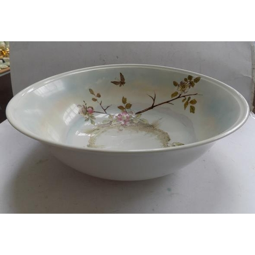 45 - Antique Japanese hand thrown plumb blossom wash bowl circa 1850, 15 1/2 inches in diameter...