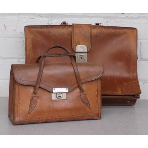 45 - Vintage leather Norissa A frame briefcase & handbag...