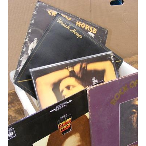 55 - Box of records inc Lou Reed, Uriah Heep, Neil Young, The Band, Yes, Eric Burdon etc...