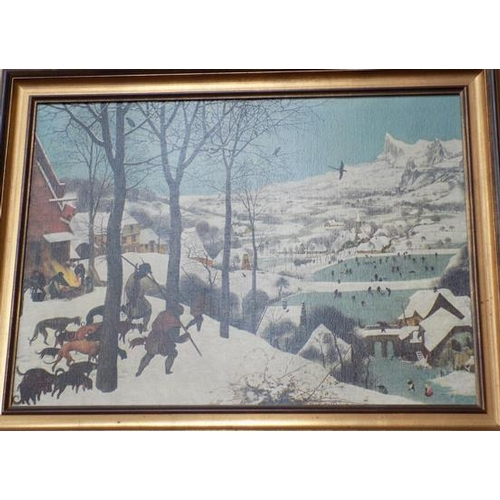 28 - 'Hunters in the Sun' lithograph on canvas by Breughel, approx. 34 x 26 inches...