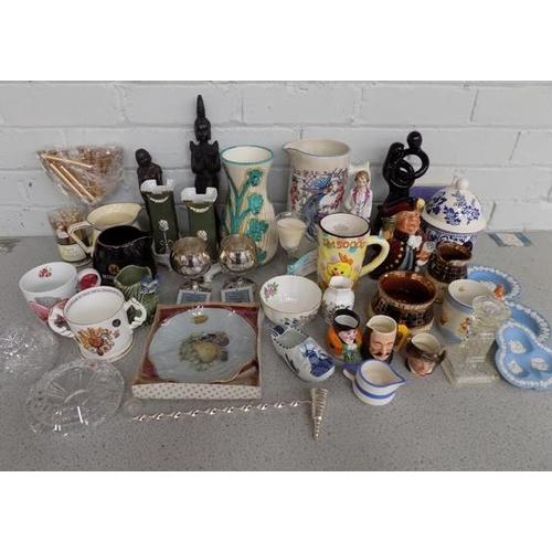29a - Box of ceramics and others incl. Wade, Mason's, Aynsley, Crown, Royal Doulton...