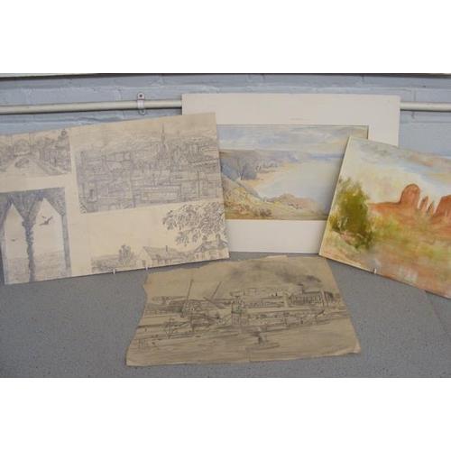 35 - Portfolio of loose Geoffrey Jenkinson paintings (1925 - 2006) & sketches (4)...