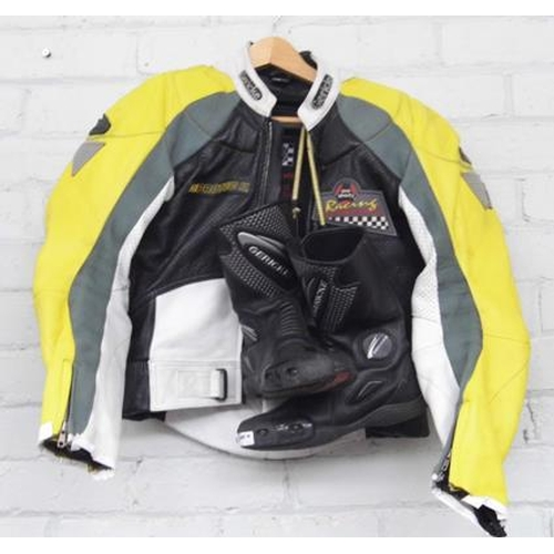 500a - Prosports metal plated biker leather jacket + pair of biker boots, size 5...