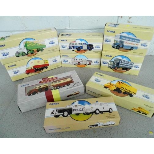 52 - 9x Corgi commercials and vans - all boxed (unopened with certificates)...