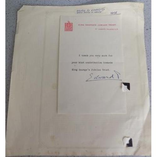 20 - Signed letter Duke of Windsor Edward VIII...