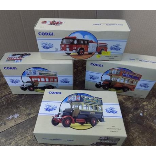 48 - 3 x Corgi buses + 1 fire engine - all boxed with certificates...
