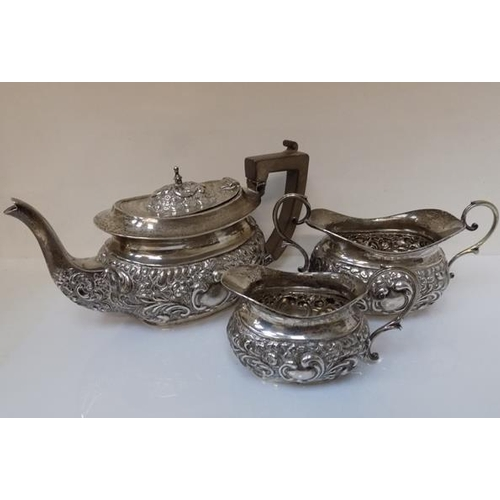 201 - Hallmarked 1904 EJ Partridge, Birmingham silver tea pot, sugar bowl & jug (total weight 636.5gms)...