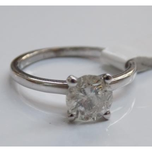 229 - 14ct white gold 1.01 carat diamond solitaire ring with G.I.E. certificate (free ring re-sizing) size...